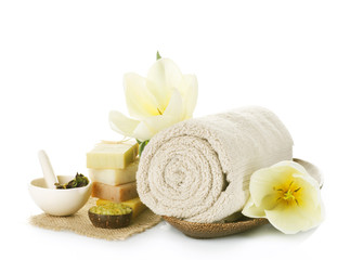 Spa treatment isolated on white