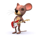 3d mouse playing his electric guitar