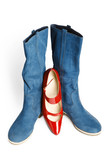 New dark blue boots and the red varnished shoes poster