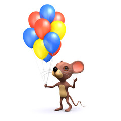 3d mouse with balloons