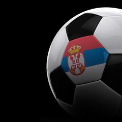 Serbian soccer ball over black background