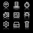 White contour internet security web icons V2
