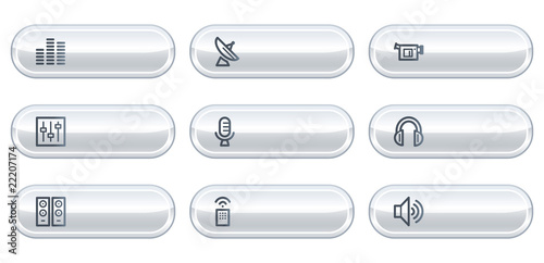 Media web icons, white buttons with copyspace