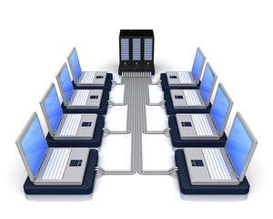 computer servers in perspective over a white background
