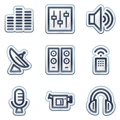 Media web icons, deep blue contour sticker series