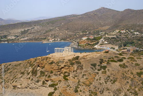 aerial view of the temple of Poseidon,