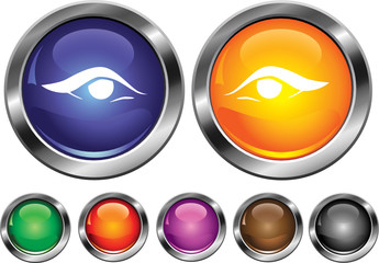 Vector collection icons with eye sign, empty button included