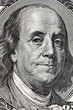 Portrait franklin from a denomination in 100 American dollars