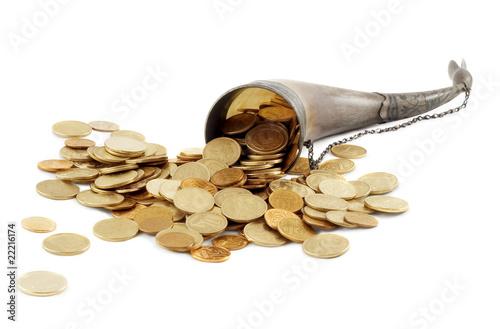 Cornucopia bone full of gold coin