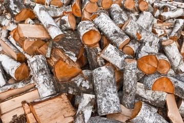heap of birch logs