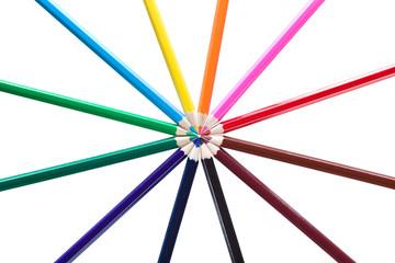 Crayons. Colored pencils forming a color circle