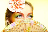 Close-up portrait of summer fashion creative eye make-up