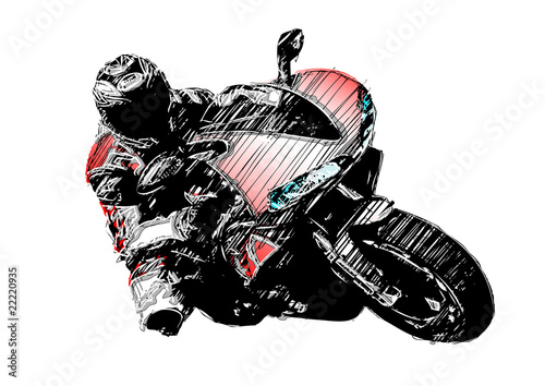 isolated sketching of the motorcycle