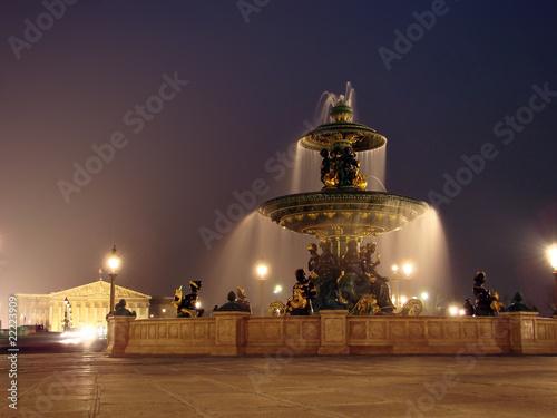 Leinwanddruck Bild Place de la concorde - La fontaine des Mers