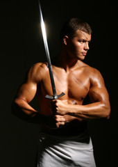 Model with a sword