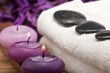 hotstones on towel with purple candles (1)