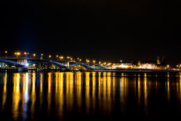 Rhine bridge the German cities Mainz and Wiesbaden at night
