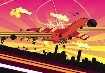 avion despegando en vector