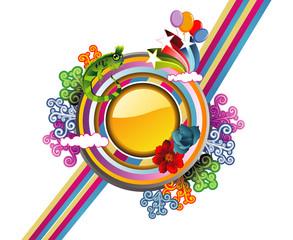 composicion floral abstracta en vector