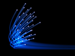 Blue optical fibres