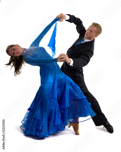 Foto op Canvas Dance School Ballroom Dancers Blue 01