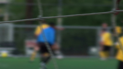 Soccer practice through net soft focus V2 - HD