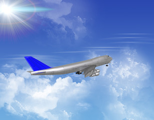 airliner with a clouds