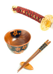 Japanese katana, Chopsticks and bowl