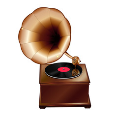 Ancient gramophone on a white background