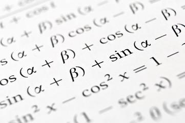 Algebra formulas close up.