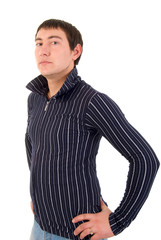 Young Adult Casual Man. Studio Shoot Over White Background.