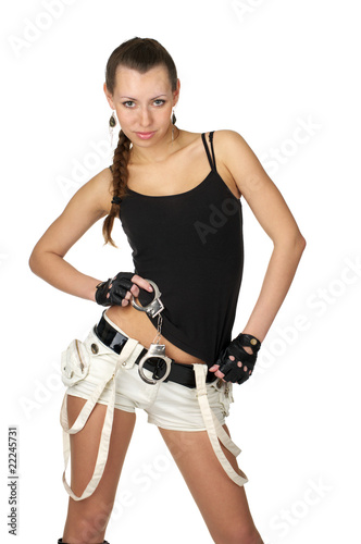 Attractive sexy female with handcuffs