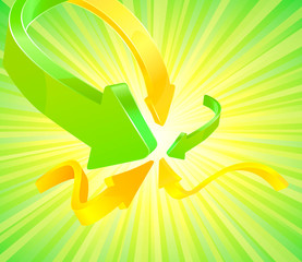 Abstract arrow background vector with green summer burst