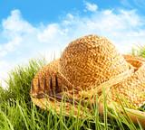Straw hat on grass