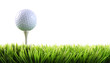 Golf ball with tee in the grass - 22249138