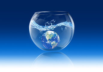earth in bubble water