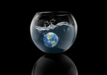 earth splash in water