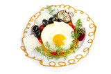 fried egg served on white plate