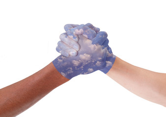 Cloud painted hands
