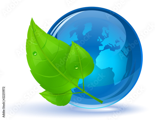 Globe and green leaves with drop of water. Eco Concept.