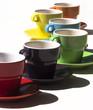 Composition de tasses de café colorées