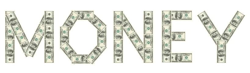 "Word ""Money"" made of dollars"