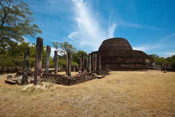 Ancient Buddhist dagoba (stupe) Pabula Vihara.  Sri Lanka