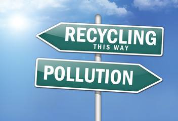 "Way Signs ""Recycling, This Way - Pollution"""