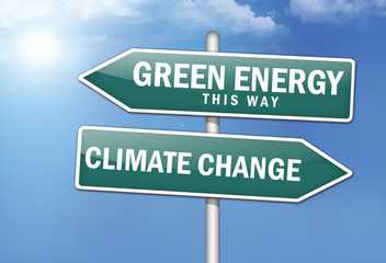 "Way Signs ""Green Energy, This Way - Climate Change"""