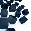 Falling and hitting dark blue cubes on a white