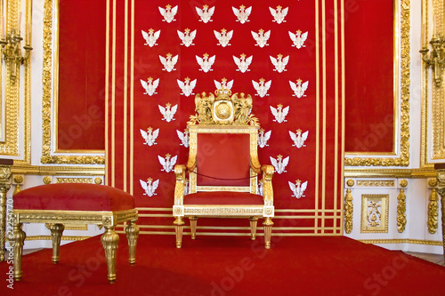 Throne in Royal castle in Warsaw on World Heritage List.