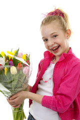 Girl with bouquet of colorful Dutch tulips over white background