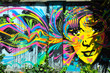 canvas print picture - Brightly colored mural of face, Bogota, Colombia
