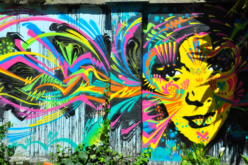 canvas print picture Brightly colored mural of face, Bogota, Colombia